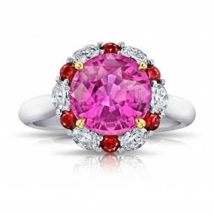 4.04 carat Round Pink Sapphire Ruby and Diamond Ring, SKU 28710V (4.96Ct TW)