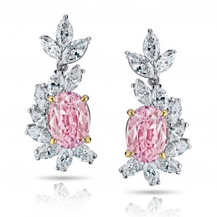 3.69 carat Oval Padparadscha Sapphire and Diamond Earrings, SKU 28715V (5.41Ct TW)