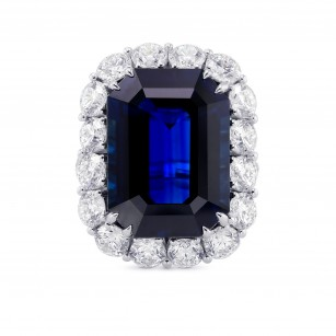 Extraordinary  Unheated Blue Sapphire Halo Ring, SKU 28734V (27.48Ct TW)
