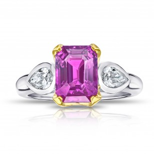 4.04 Carat Emerald Cut Pink Sapphire and Diamond Ring, SKU 28740V (4.58Ct TW)