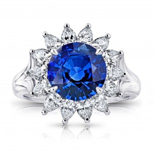 3.40 Carat Round Blue Sapphire and Diamond Ring, SKU 28746V (4.70Ct TW)