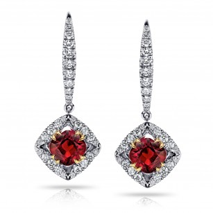 1.17 Carat Cushion Red Ruby And Diamond Earrings, SKU 28747V (1.46Ct TW)
