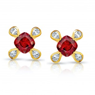 1.08 Carat Cushion Red Ruby and Diamond Earrings, SKU 28750V (1.29Ct TW)