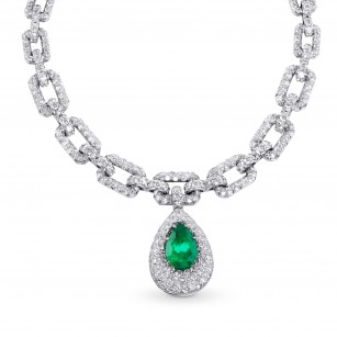 Pear Shape Emerald and Diamond Drop Necklace, ARTIKELNUMMER 28756V (62,34 Karat TW)
