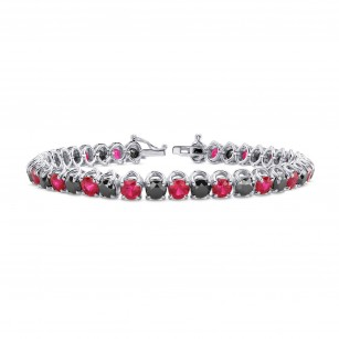 Black Diamond & Red Ruby Tennis Bracelet, SKU 28776R (17.00Ct TW)
