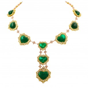 Emerald Heart Shape and Diamond Halo Necklace, ARTIKELNUMMER 28796V (73,58 Karat TW)