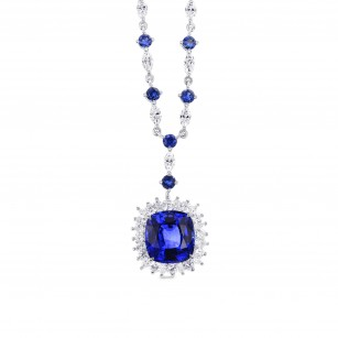Vivid Blue Cushion Sapphire & Diamond Necklace, SKU 288436 (6.29Ct TW)