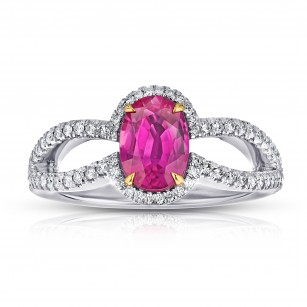 "Oval Ruby ""natural no heat"" Mozambique and Diamond Platinum Ring, SKU 28881V (1.98Ct TW)"