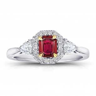 Emerald Cut (natural no heat) Red Ruby and Diamond Ring, SKU 28882V (1.08Ct TW)