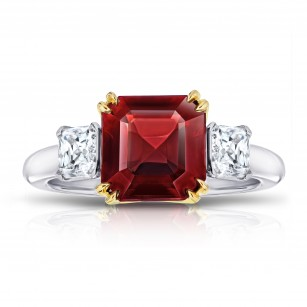 A Burma Asscher Cut Red Spinel and Diamond Ring, SKU 28891V (5.00Ct TW)