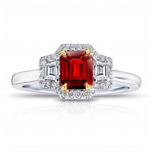 Emerald Cut No Heat Red Ruby and Diamond Ring, SKU 28898V (1.14Ct TW)