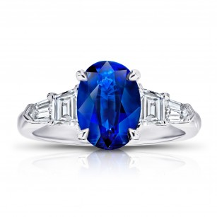 2.78 Oval Blue Sapphire and Diamond Ring, SKU 28900V (3.52Ct TW)