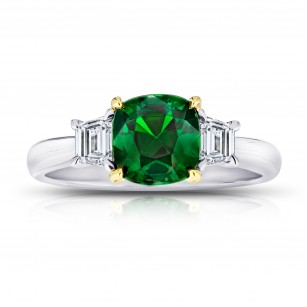 1.93 Carat Cushion Green Tsavorite Ring, SKU 28901V (2.33Ct TW)