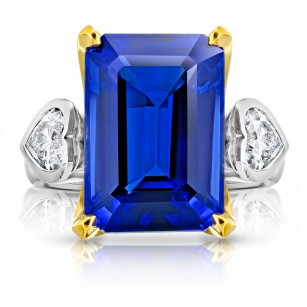13.97 Carat Emerald Cut Blue Tanzanite and Diamond Ring, SKU 28902V (14.88Ct TW)