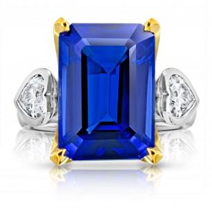 13.97 Carat Emerald Cut Blue Tanzanite and Diamond Ring, SKU 28902V (14.88Ct TW)
