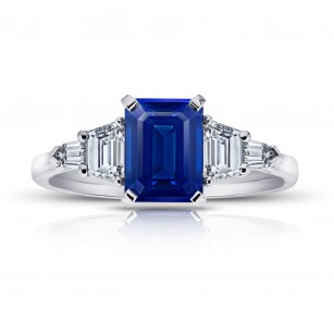 2.25 Carat Emerald Cut No Heat Blue Sapphire and Diamond Ring, SKU 28903V (3.04Ct TW)