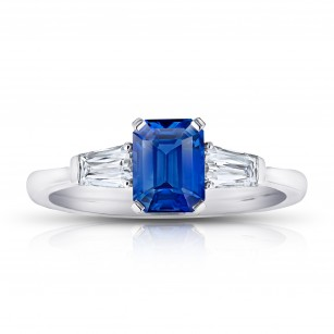 Emerald Cut No Heat Blue Sapphire and Diamond Ring, SKU 28904V (1.83Ct TW)