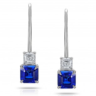 Blue Ascher Cut Sapphire and Diamond Earrings, SKU 28905V (2.39Ct TW)