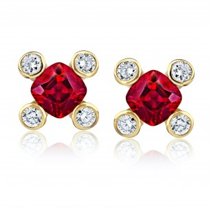 Cushion Red Ruby and Diamond Earrings, SKU 28908V (1.06Ct TW)
