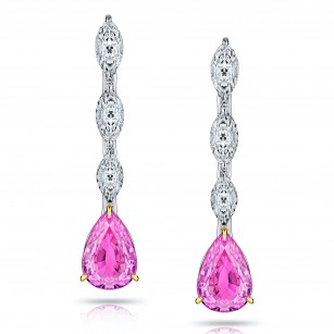 1.90 Carat Pear Shape (No Heat) Pink Sapphire and Diamond Earrings, SKU 28909V (2.45Ct TW)
