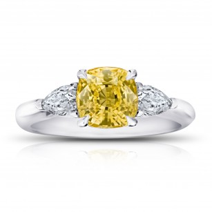 Cushion (no heat) Yellow Sapphire and Diamond Ring, SKU 28910V (2.82Ct TW)