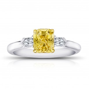Radiant Cut (no heat) Yellow Sapphire and Diamond Ring, SKU 28911V (1.88Ct TW)