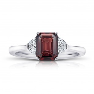 2.08 Carat Emerald Cut Reddish Brown Sapphire and Diamond Ring, SKU 28912V (2.37Ct TW)