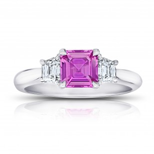 1.24 Carat Asscher Cut Pink Sapphire and Diamond Ring, SKU 28913V (1.75Ct TW)