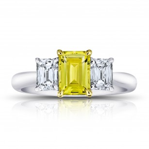 Emerald Cut (natural no heat) Yellow Sapphire and Diamond Ring, SKU 28914V (2.28Ct TW)