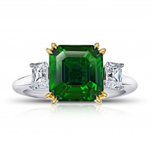 5.07 Carat Square Emerald Cut Green Tsavorite and Diamond Ring, SKU 28916V (6.20Ct TW)