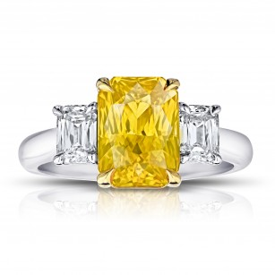 Radiant Cut (no heat) Yellow Sapphire Ring, SKU 28917V (4.96Ct TW)
