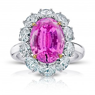 5.97 Carat Oval Pink Sapphire and Diamond Ring, SKU 28918V (8.00Ct TW)