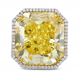 Extraordinary Fancy Yellow Radiant Diamond Ring, SKU 289211 (36.87Ct TW)