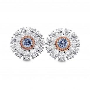 Fancy Intense Blue Diamond Flower Earrings, SKU 289212 (8.29Ct TW)