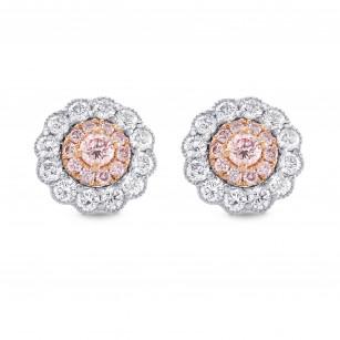 Fancy Pink Diamond Floral Earrings, SKU 289596 (0.61Ct TW)