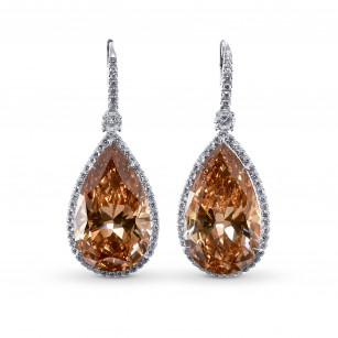 Extraordinary Fancy  Deep Brown Yellow Pear Shape Halo Diamond Earrings, SKU 28982V (42.46Ct TW)