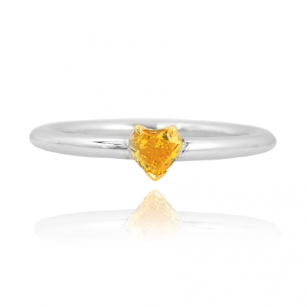Fancy Vivid Orangy Yellow Diamond Heart Solitaire Ring, SKU 28983 (0.31Ct)
