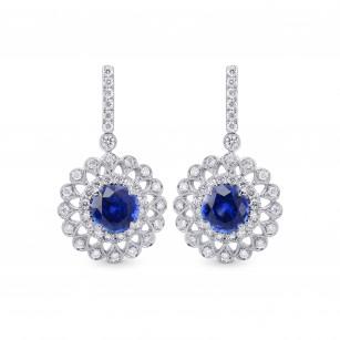 Blue Sapphire & Diamond Filigree Floral Halo Drop Earrings, SKU 29028R (1.88Ct TW)