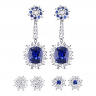 Blue Sapphire and Diamond Halo Drop Earrings, SKU 290732 (9.46Ct TW)