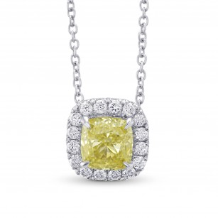 Fancy Yellow Cushion Halo Diamond Pendant, SKU 291260 (0.90Ct TW)