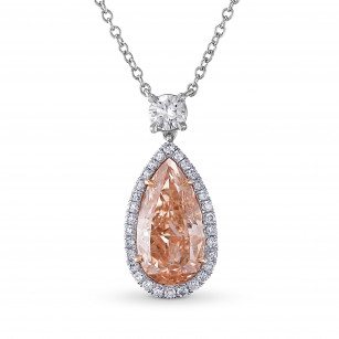 Fancy Brownish Orangy Pink Pear Shape Halo Diamond Pendant, SKU 29288V (2.41Ct TW)