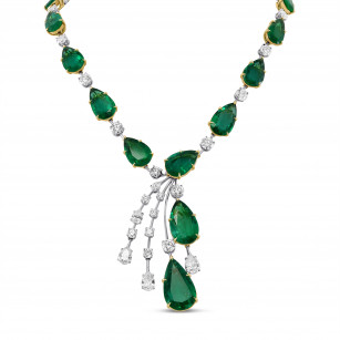 Extraordinary Emerald and Diamond Drop Necklace, SKU 29353V (96.91Ct TW)