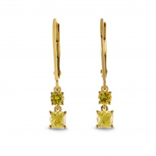 Fancy Yellow Cushion Diamond Drop Earrings, SKU 293544 (0.94Ct TW)