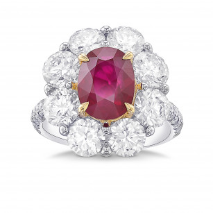 Extraordinary Oval Ruby and Diamond Floral Halo Ring, SKU 29359V (6.90Ct TW)