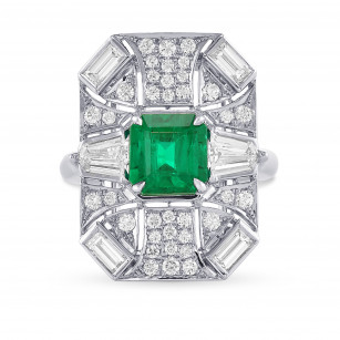 Colombian Emerald and Diamond Couture Halo Ring, ARTIKELNUMMER 29379V (3,70 Karat TW)
