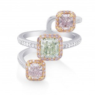 Trilogy Pink & Green Radiant Diamond Designer Ring, SKU 294059 (2.36Ct TW)