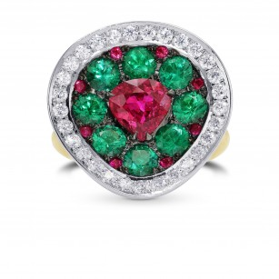 Extraordinary Ruby Emerald & Diamond Ring, SKU 294400 (4.16Ct TW)