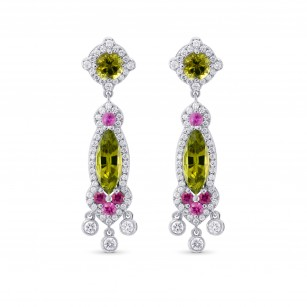 Extraordinary Green Tourmaline, Ruby and Diamond Chandelier Earrings, SKU 294402 (5.59Ct TW)