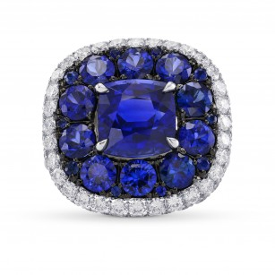 Royal Blue Sapphire and White diamonds Extraordinary Double Halo Ring, SKU 294403 (8.56Ct TW)