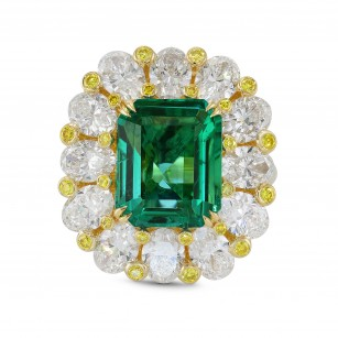 No Oil Zambian Emerald and Fancy Intense Yellow Extraordinary Ring, SKU 294404 (9.82Ct TW)